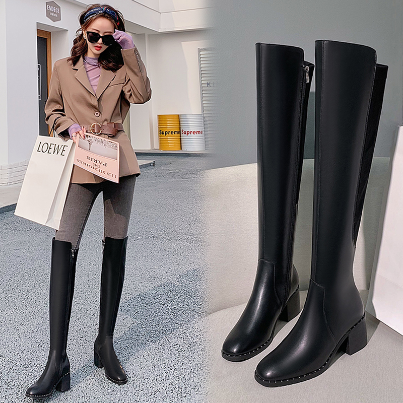Net red boots womens knee length autumn winter 2020 new net red show thin boots high tube thick heel elastic boots high heel womens shoes