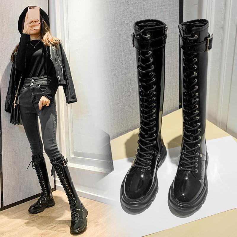 网红马丁靴女靴子长筒靴2020新款网红厚底系带长靴高筒靴中筒骑士