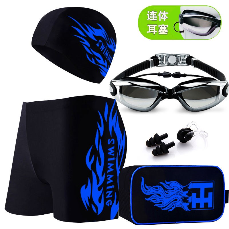 Adult men's swimsuits + swimming cap, hot spring, large loose swimsuit, fashion goggles, five piece suit
