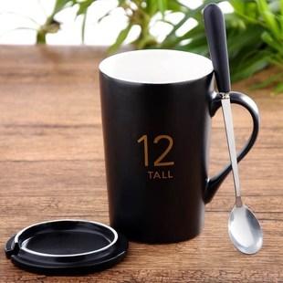 [特价]陶瓷杯带盖带勺大容量喝水杯情侣冲咖啡专用杯泡牛奶的杯子