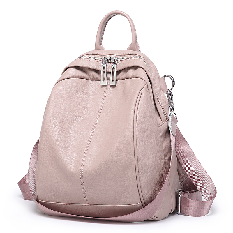 Backpack female small bag personality wild leather top layer cowhide bag soft leather trend backpack ins travel female bag