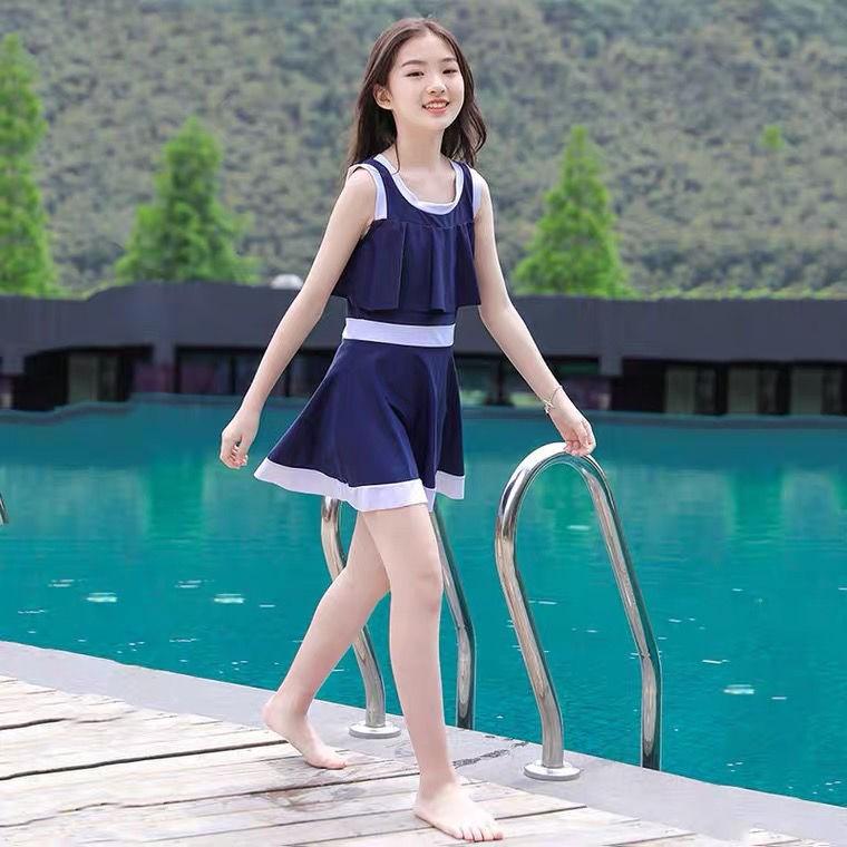 大童泳衣女孩发育儿童女童夏海边防晒小仙女遮肚2021新款爆款泳装