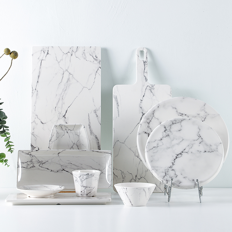 Sman white marble five star hotel tableware series is equipped with tray, bowl and cup