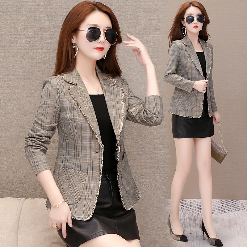 Korean Plaid suit coat women short spring and summer 2020 new temperament casual spring and autumn check pattern small suit top