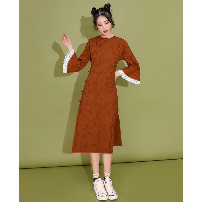10月11日最新优惠长袖旗袍年轻款少女秋冬宽松连衣裙