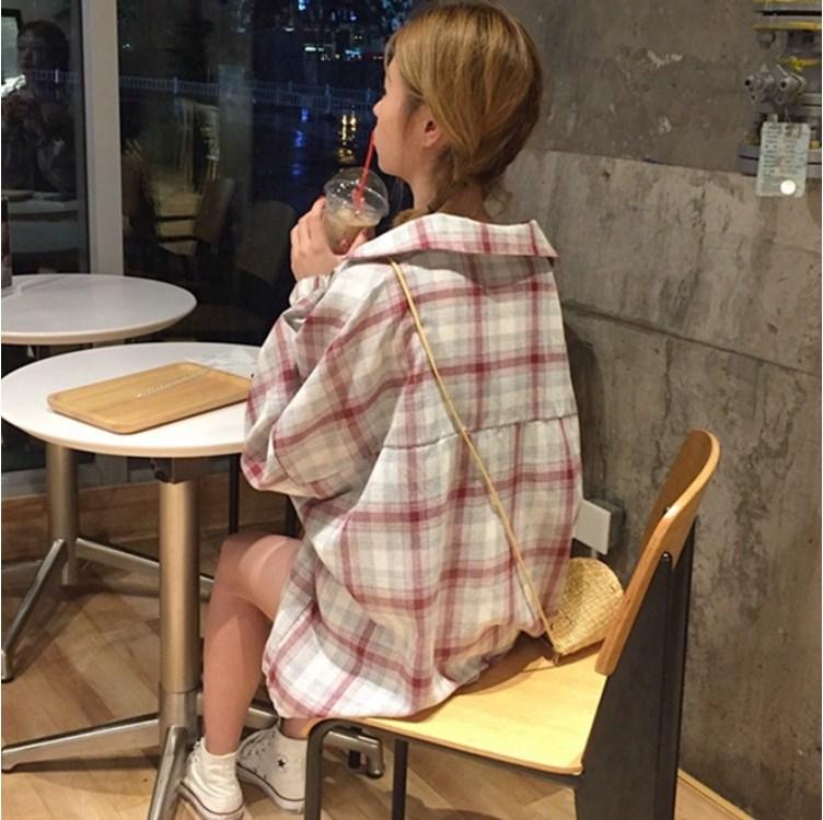 古时尚新款袋夏季清凉透气领复2020格子灯笼袖polo双口衬衣外套