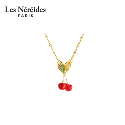 Les Nereides Berry Cherry and Leaf Pendant Necklace Sweet Girl Cute Fruit French Style