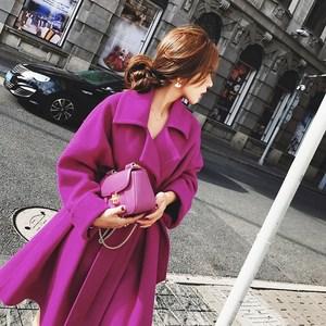 2021春季新款韩国气质收腰中长款大摆毛呢大衣宽松百搭呢子外套女