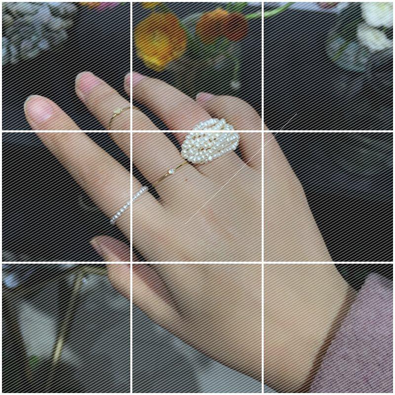 特别~小众设计 纯手工棉线 8层小珍珠编织 多层天然淡水珍珠戒指