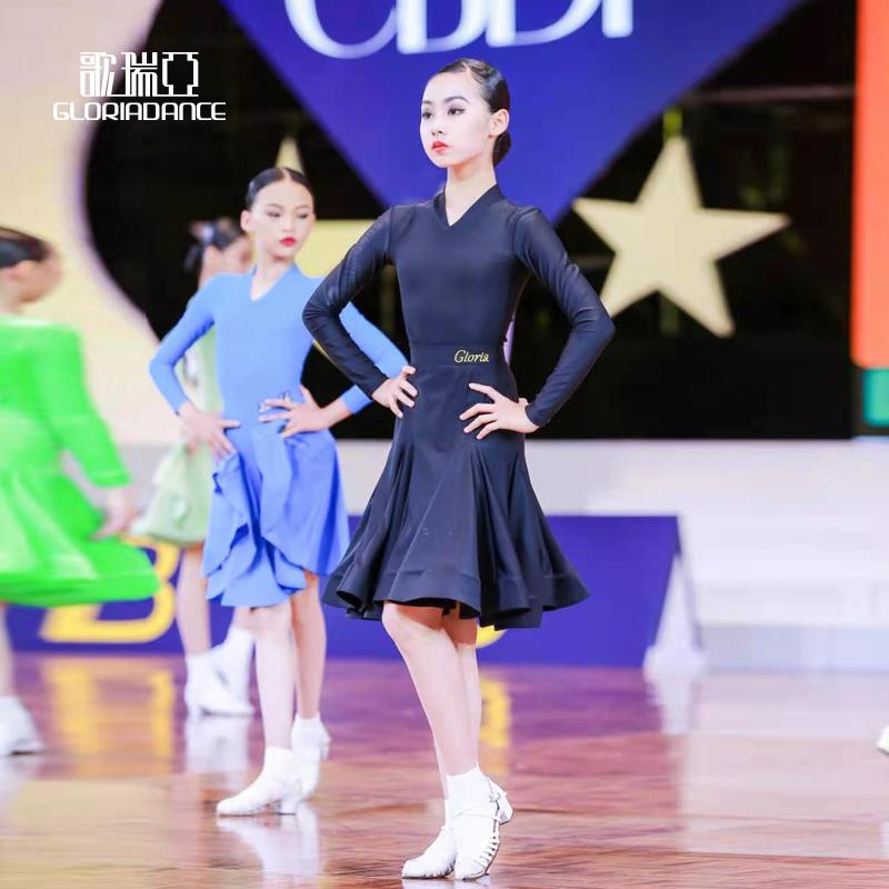 歌瑞亚拉丁舞服女少儿童长袖V领分体鱼骨大摆裙训练习比赛规定服