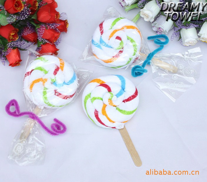 Gifts, creative gifts, lovely children gifts, colored bars, lollipop, cake, towel