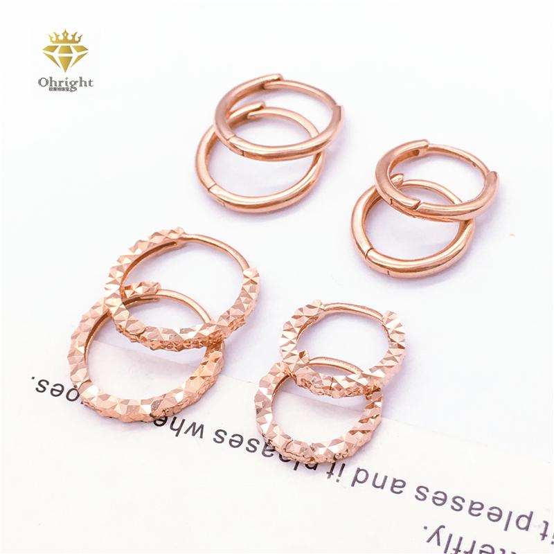 玫瑰彩金时尚车花光面耳圈耳扣环14k正品保真紫金585满洲里俄罗斯