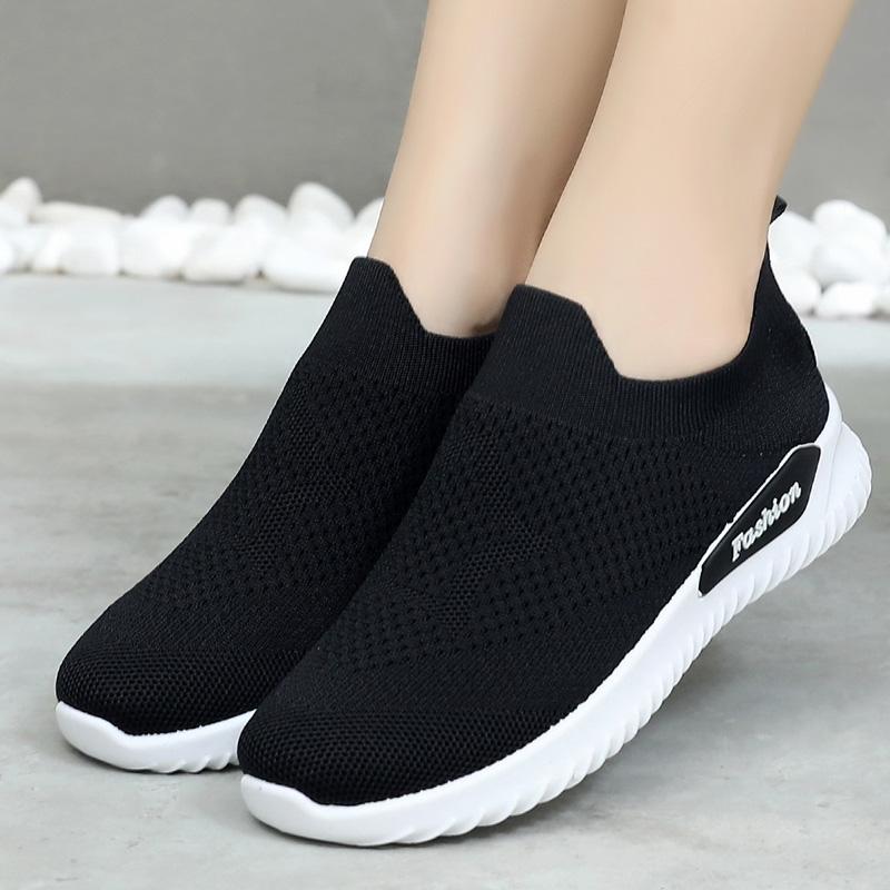 2020新款时尚百搭休闲女鞋老北京布鞋女一脚蹬平底休闲运动跑步鞋