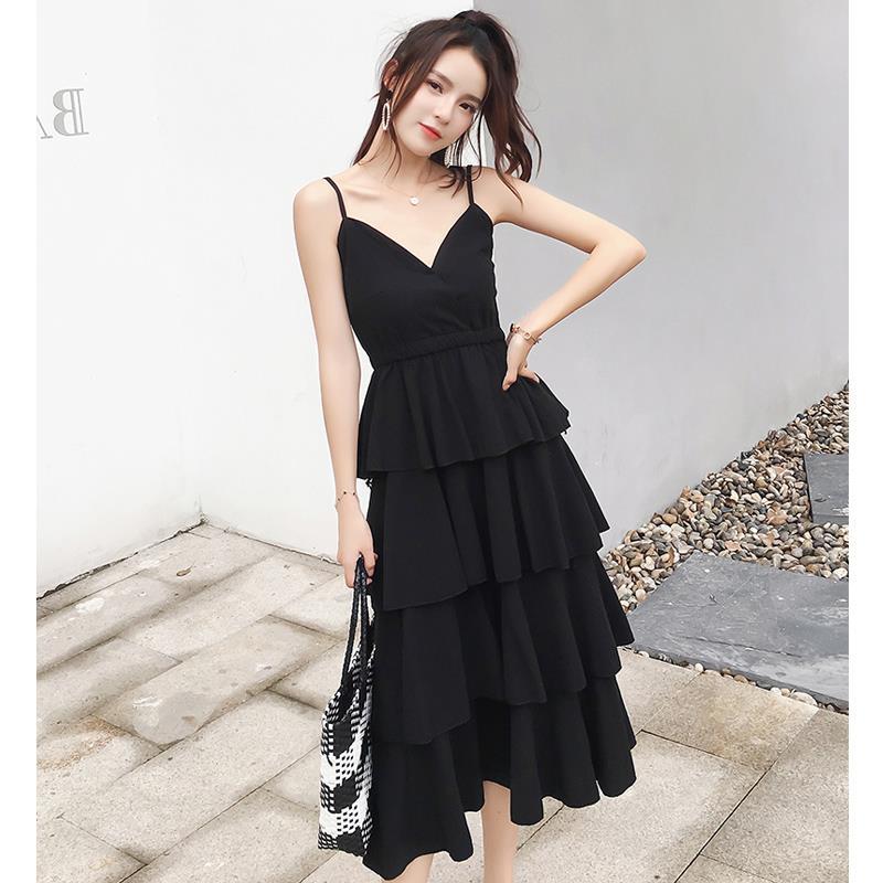 收腰气质复古心机小黑裙女仙连衣裙热销0件手慢无