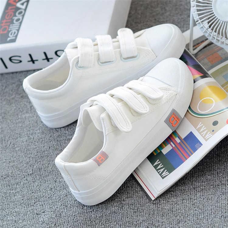 鞋子女魔术贴学生帆布鞋春夏秋季韩版女鞋百搭小白鞋平底休闲板鞋