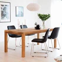 北欧实木组合长方形餐桌桌子简约现代家用组合椅复古原木桌工作台