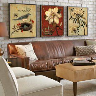 美式客厅装饰画美克美家挂画简美欧美复古大气轻奢田园风格壁画