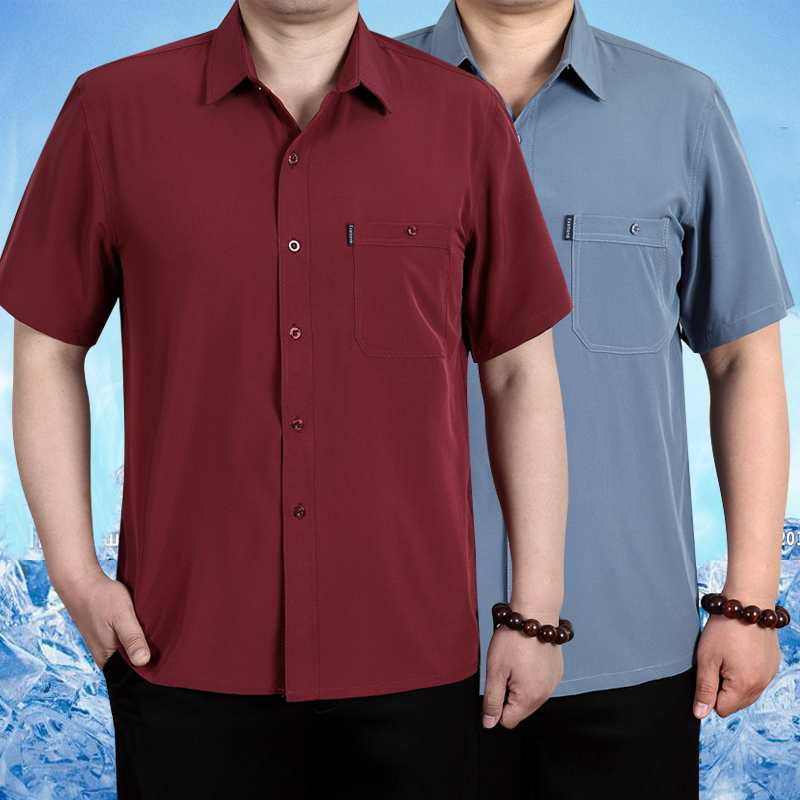 Mulberry silk short sleeve shirt mens loose silk shirt summer middle-aged fathers silk half sleeve top inch shirt