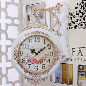 壁钟田园壁挂卧室吊钟时钟铁艺欧式挂钟挂表客厅双面