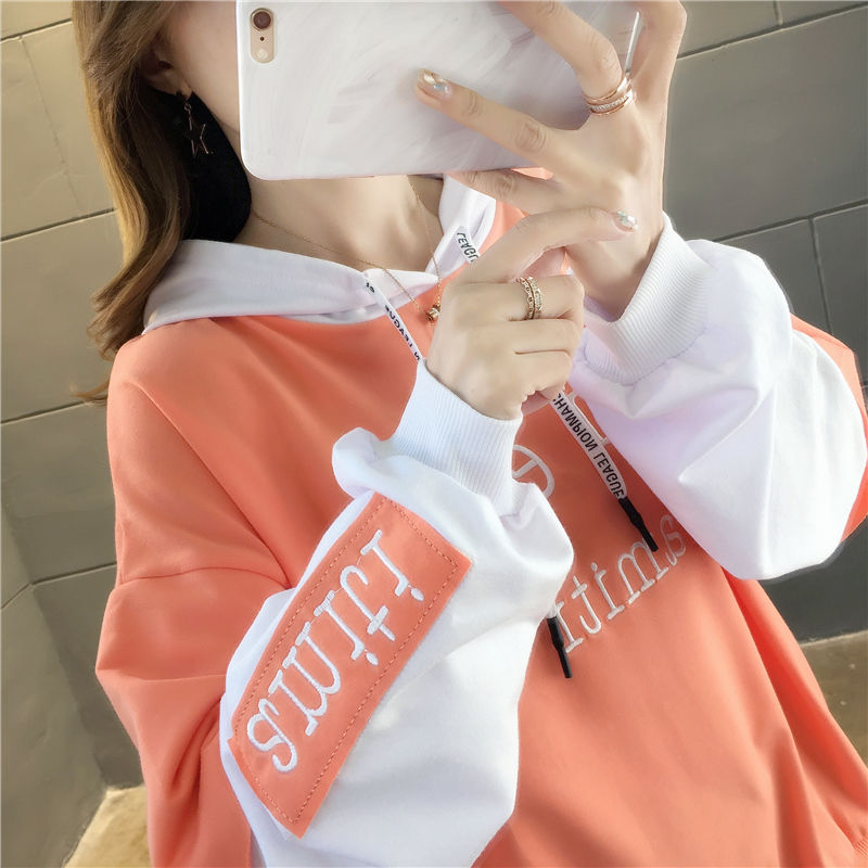 Womens Hooded Sweater spring autumn Korean version thin loose student wear autumn long sleeve loose top thin coat