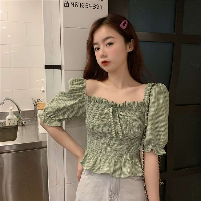 Very fairy top ins fashionable front and back collarbone design square collar retro Hong Kong style shirt minority Hepburn style