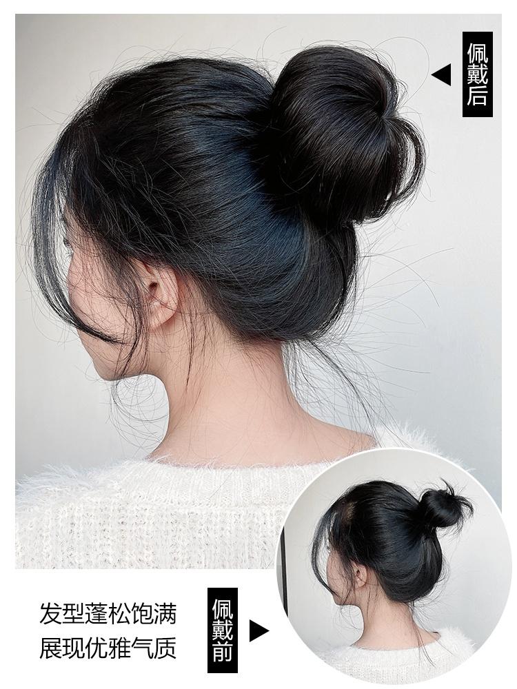 丸子头假发女花苞头真发 汉服假发包盘发器发圈逼真假发发髻发饰