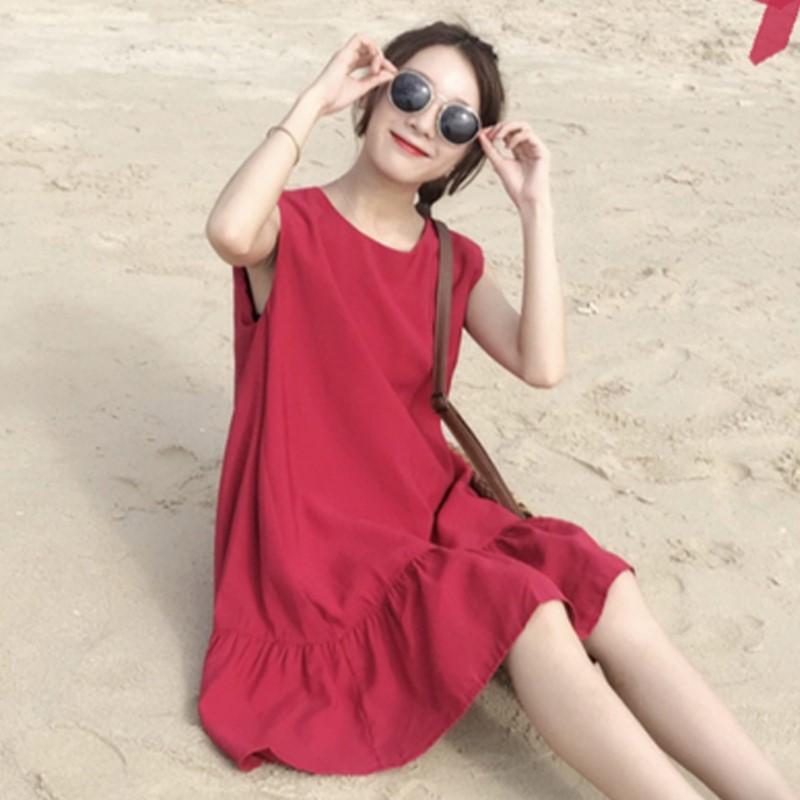 夏装9新款版荷叶边裙子显瘦宽松中长款无袖背心衣裙女学生
