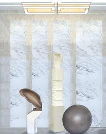 售楼部样板房酒店过道现代中式装饰 灰加白色扭曲雕塑艺术品摆件