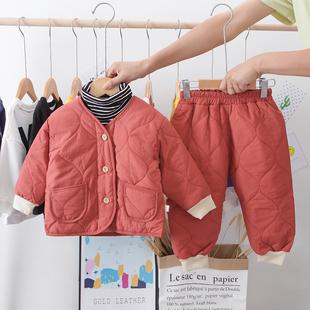 小童棉衣套装男宝宝丝棉羽绒袄棉服