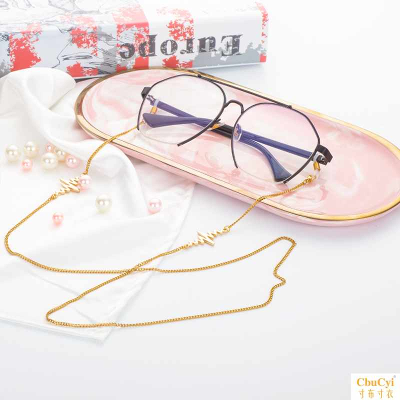 Liu Yifan fashion personalized glasses accessories Lolita outdoor sports lightning simple glasses chain metal chain