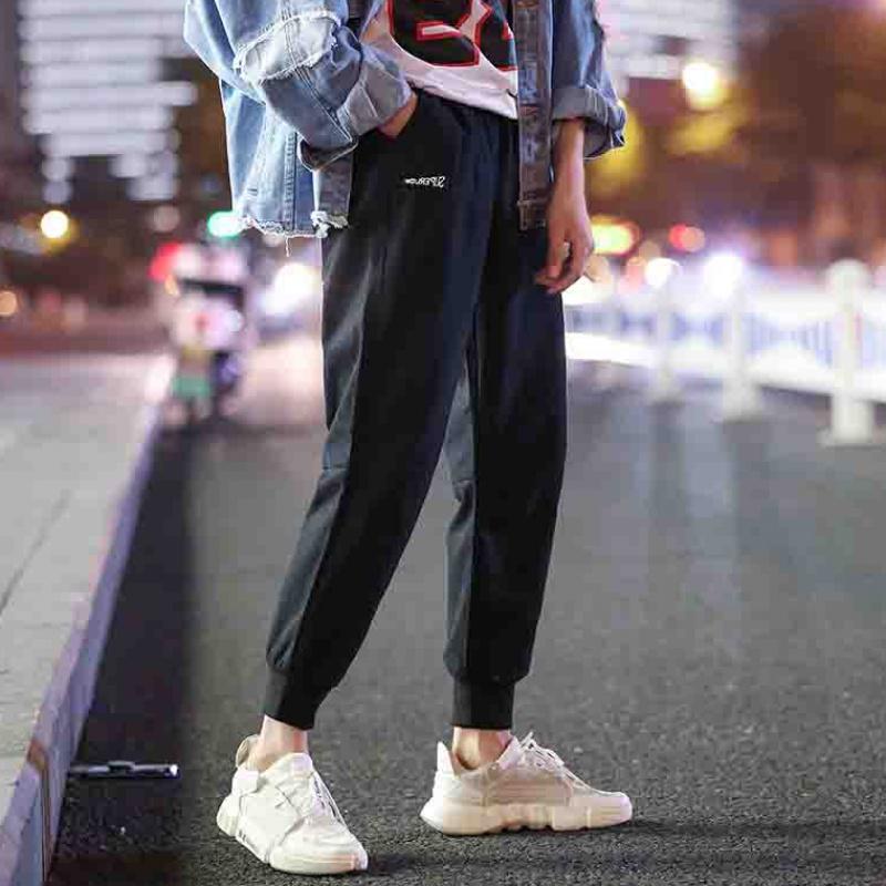 棉裤子男韩版潮流网红纯色束脚工装裤男士宽松九分休闲裤