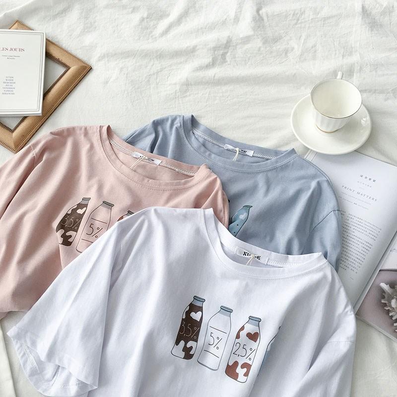 网红套头短袖t恤夏季2019新款女装韩版宽松牛奶瓶印花上衣潮