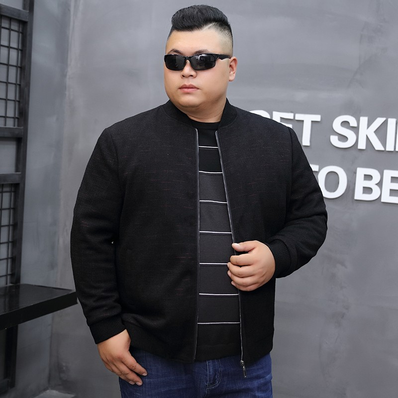 Hot selling brand autumn middle-aged and elderly mens large jacket baseball collar fat loose coat plus fat eggplant