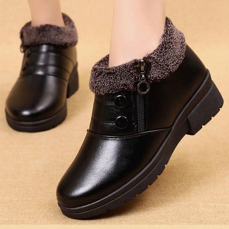 软底软皮妈妈棉鞋防滑软皮老北京雪地靴老人平底短靴中老年女皮鞋