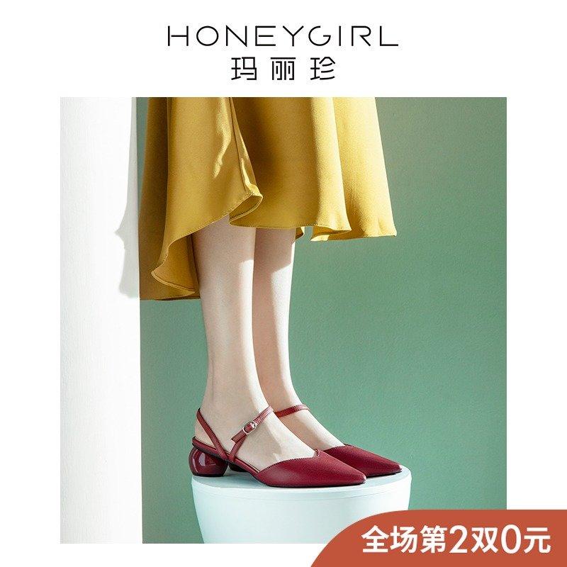 网红尖头包头凉鞋2019新款鞋子夏季中跟仙女风高跟鞋粗跟玛丽珍鞋