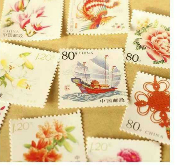Stamp 4_ 5 picture pack express mail 1 Postcard real stamp 20 sheets 80 cents 0.8 yuan discount