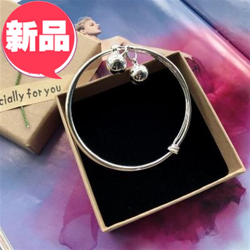 New small f bell anklet silver fashion foot K chain girl smooth simple versatile temperament foot ring