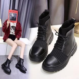 新款 中高跟网红百搭瘦瘦短靴女靴子潮 马丁靴女英伦风粗跟2019秋季