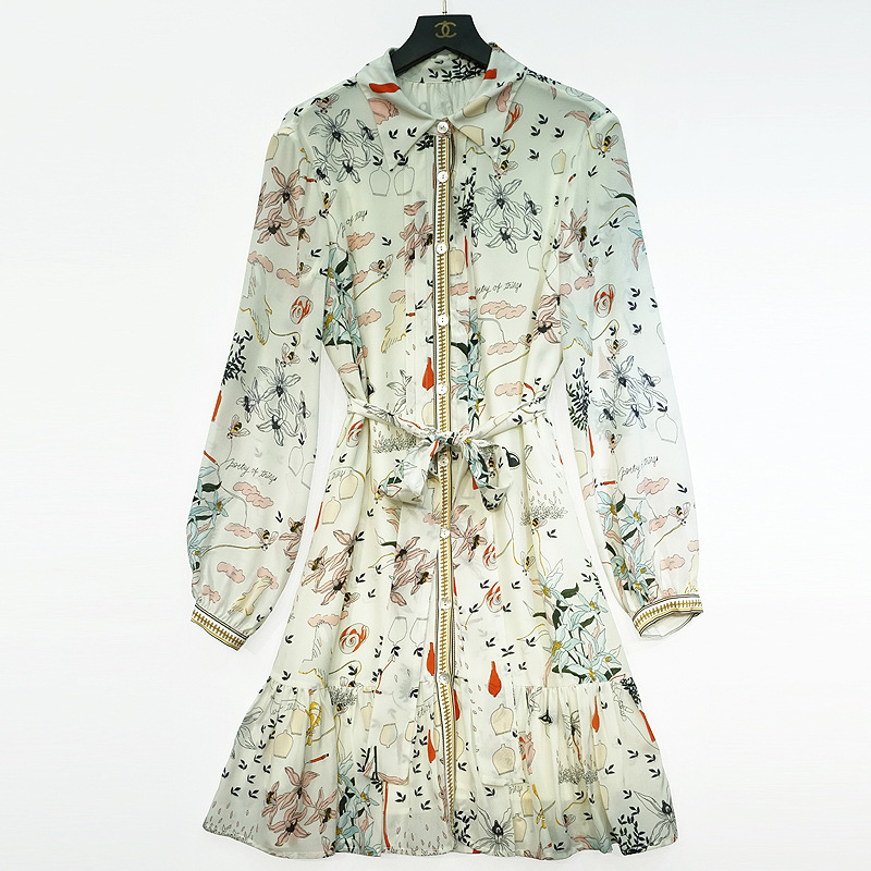 Top selling silk printed dress for womens commuting in spring and summer 2021 single breasted skirt yn630 high waisted Pullover