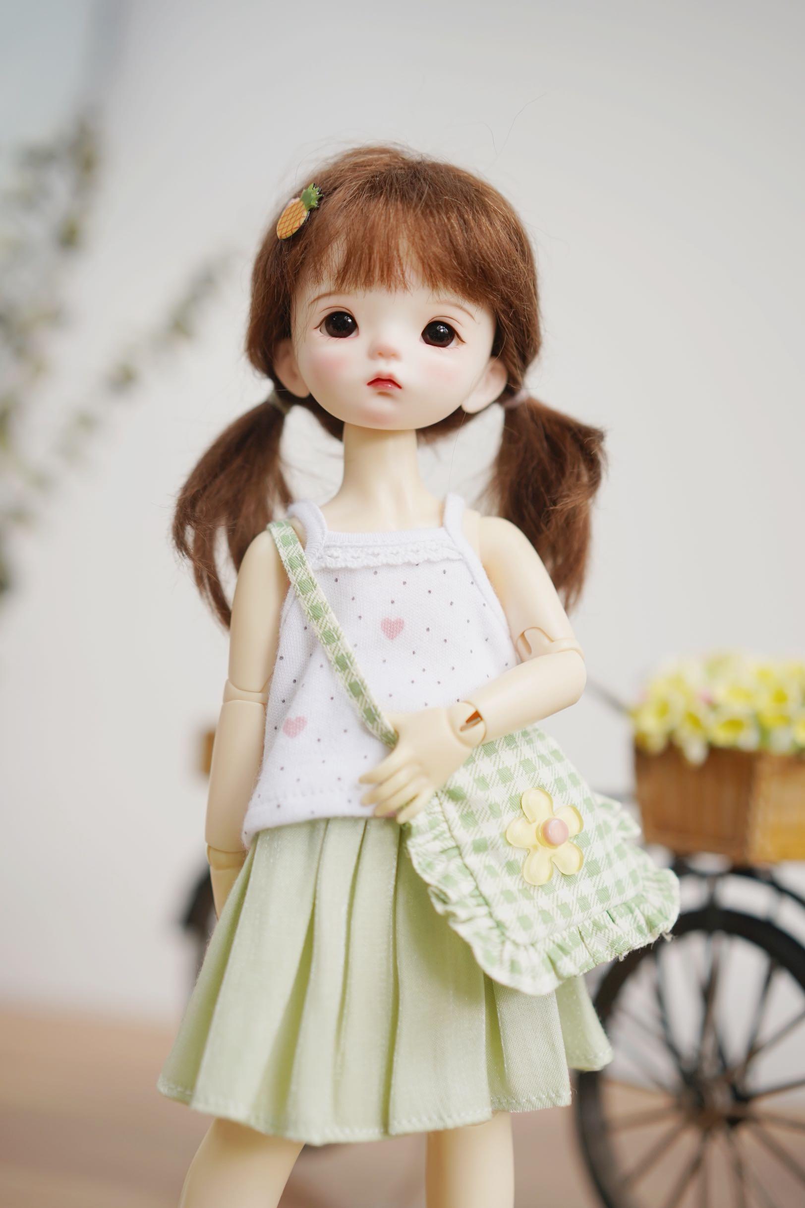 满68现货BJD6分1/6yosd娃娃衣服配件格子斜挎包