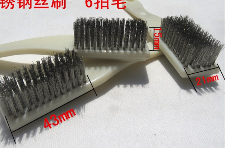 Encryption 6 rows of large stainless steel wire brush text play walnut King Kong cleaning brush home industry rust removal paint brush steel brush