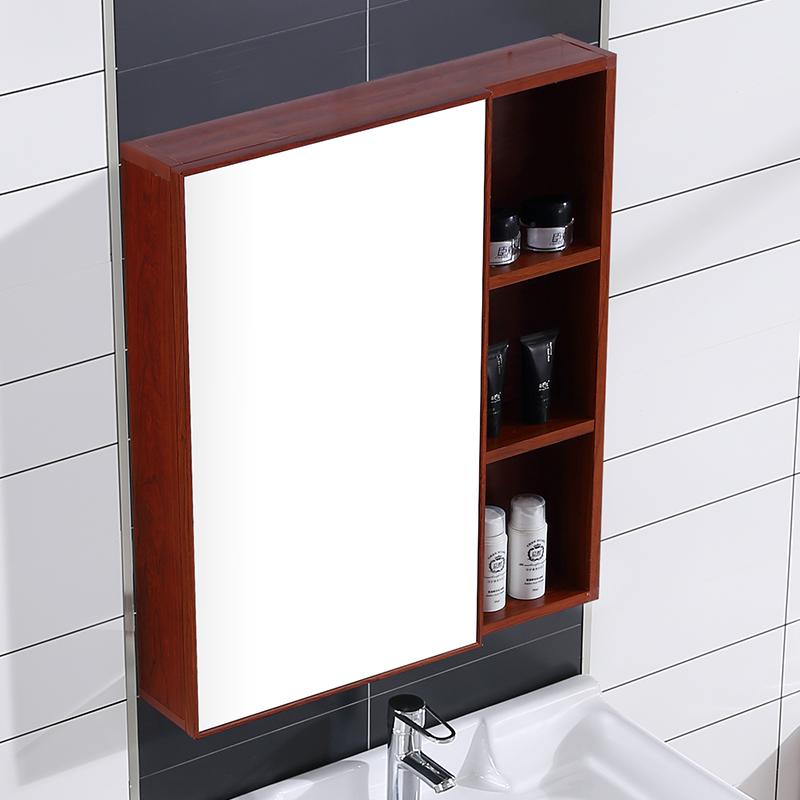 浴室镜柜卫生间壁挂简约洗漱梳妆镜子厕所太空铝镜子带置物架限10000张券