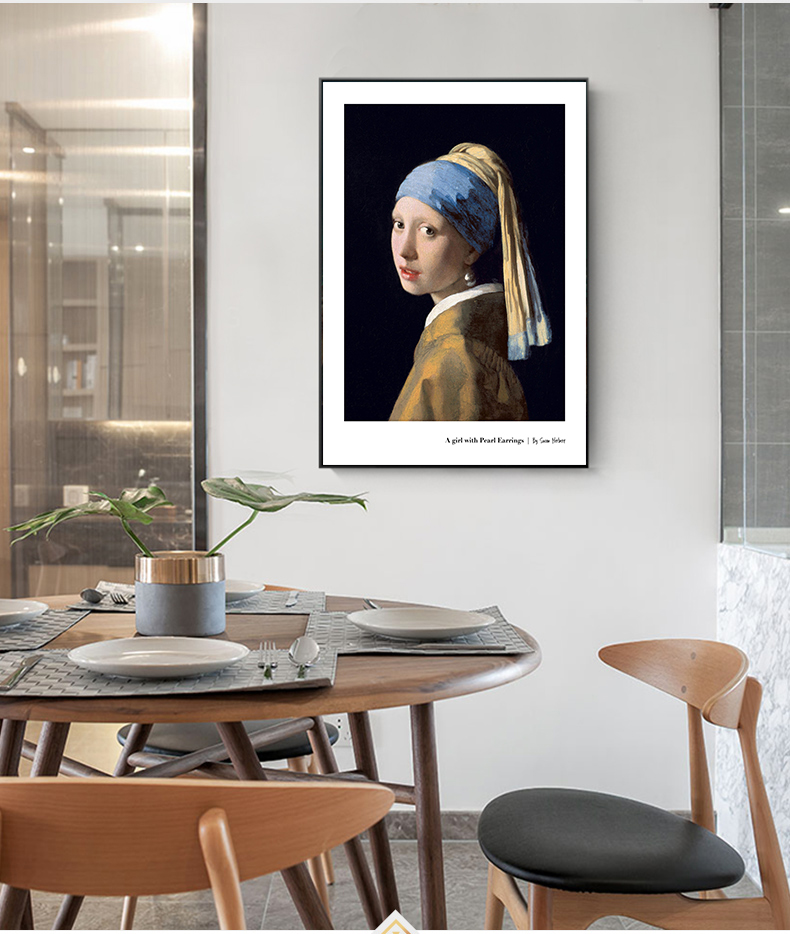 Nordic style spoof famous painting girl cat with pearl earrings decorative painting simple home background wall mural