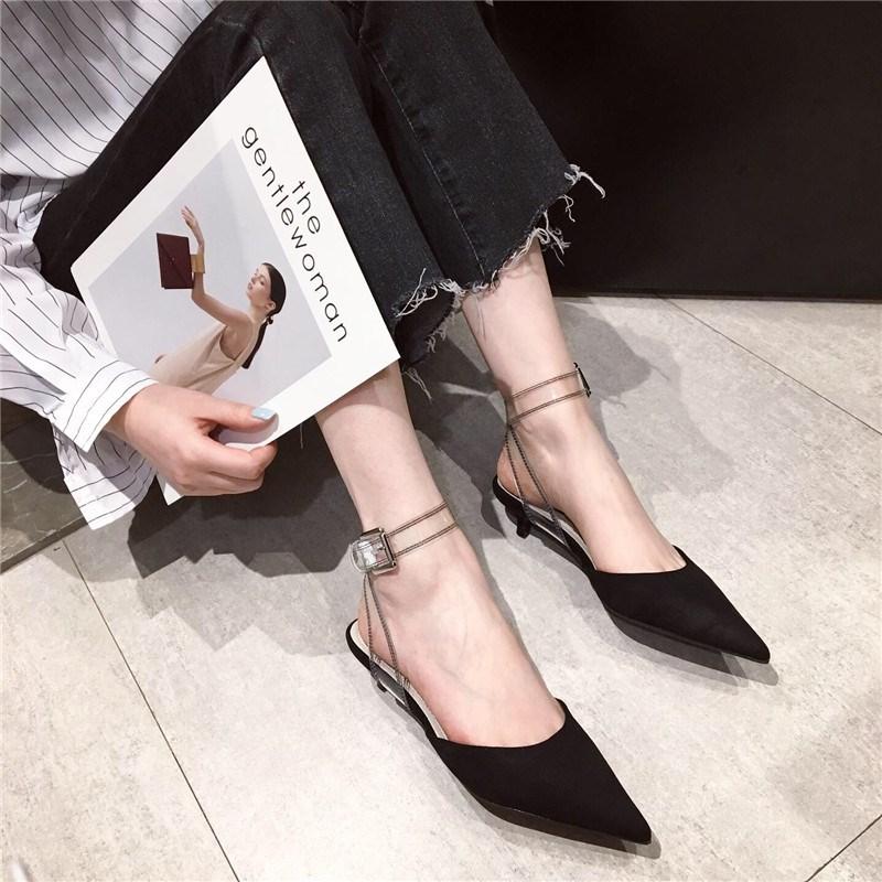 韩版2020夏季新款绒面包头脚踝绑带凉鞋百搭中跟纯色尖头后空女鞋