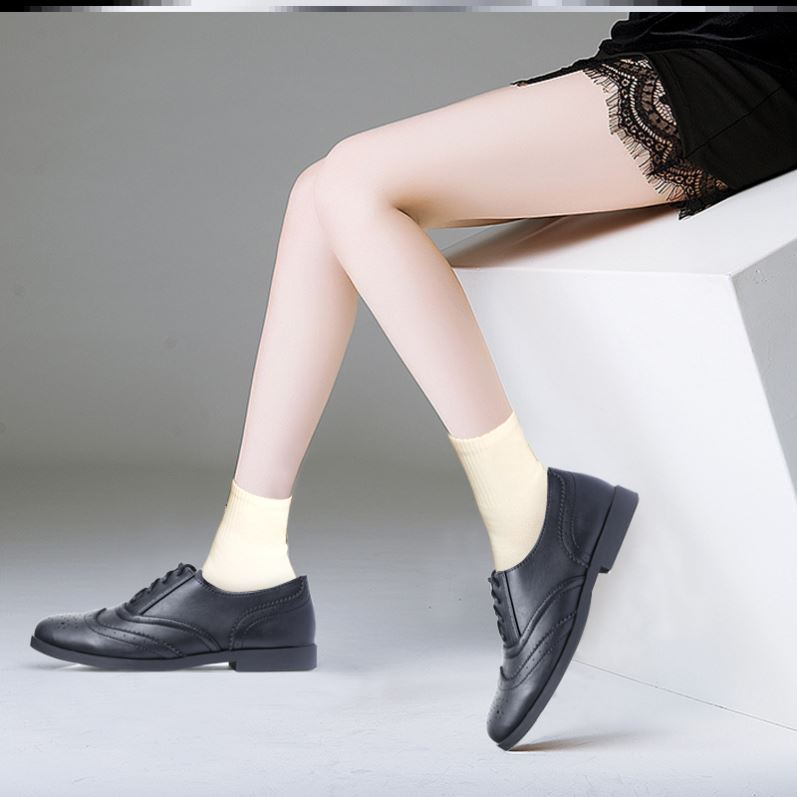 Womens British womens new ox tendon soles spring and autumn black small leather shoes womens work shoes versatile Oxford soles