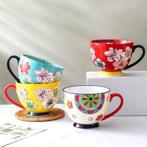 手绘浮雕陶瓷早餐杯燕麦牛奶杯子家用大容量釉下彩中式复古马克杯