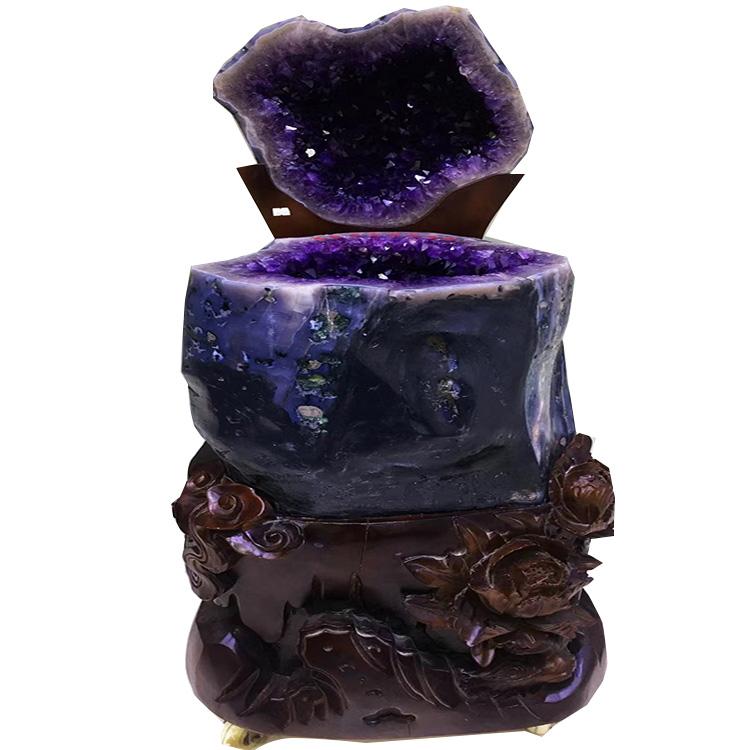 巴西乌拉圭紫水晶原石紫晶块钱袋子紫晶洞聚宝盆消磁镇宅招财摆件