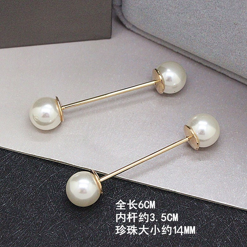 Fashion one word needle double head pearl screw button Brooch mens and womens shirt cufflink collar needle all kinds of metal simple pin