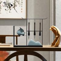 新中式毛笔架小摆件创意家居书房书桌办公桌禅意桌面古风软装饰品