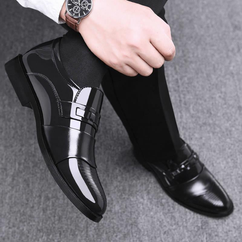 Leather shoes mens business dress shoes British Korean version set foot black casual leather shoes youth work fashion leather shoes